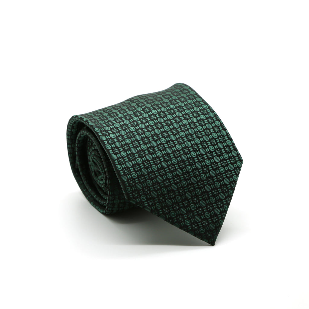 Ferrecci Mens Green Geometric Necktie with Handkerchief Set - FHYINC best men