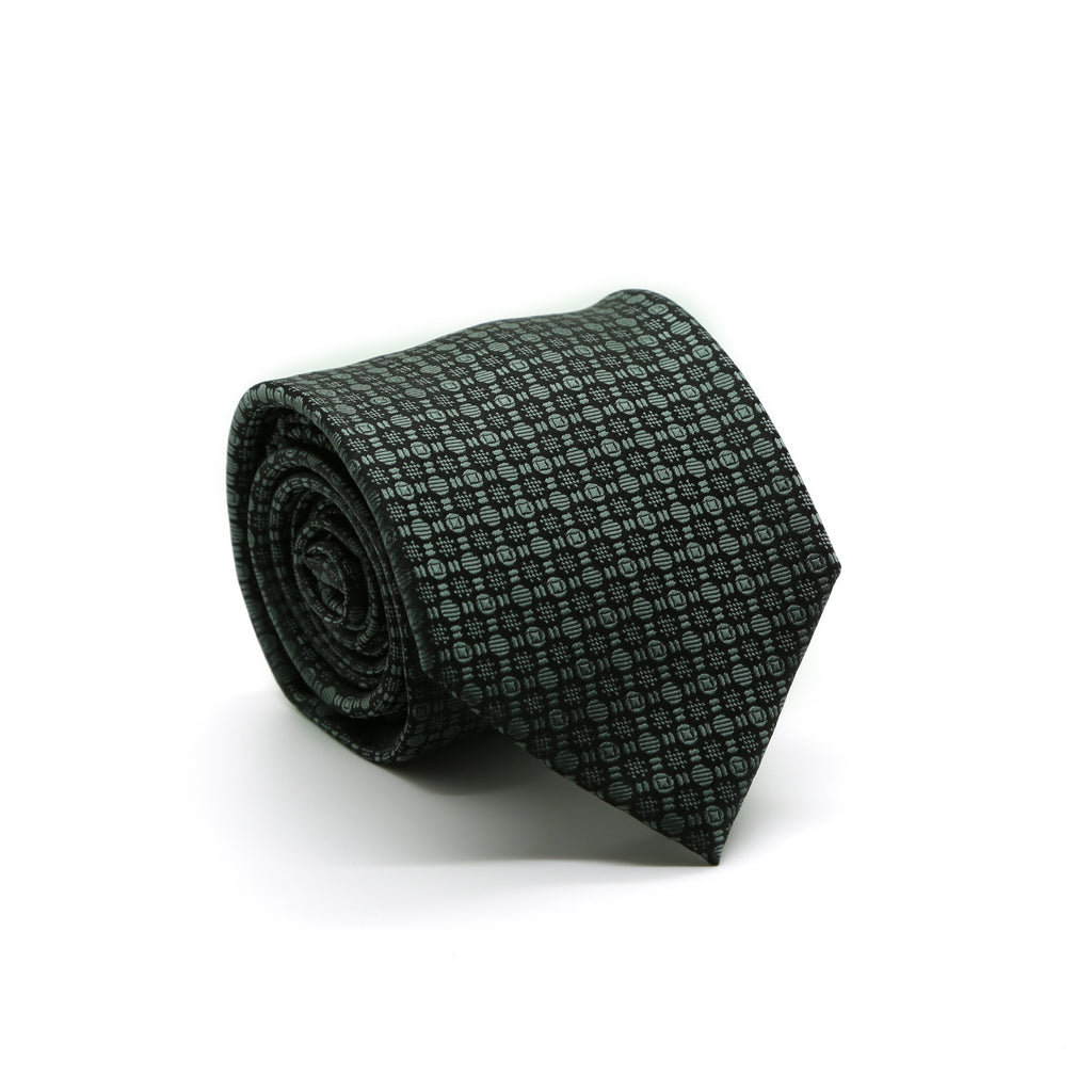 Ferrecci Mens Grey Geometric Necktie with Handkerchief Set - FHYINC best men
