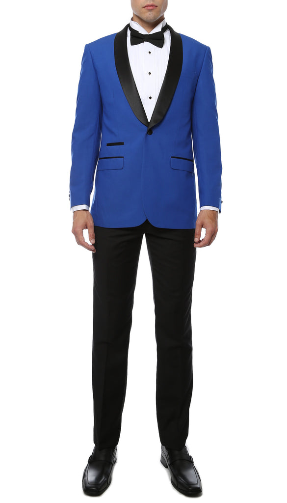 The Reno Mens Royal Blue Shawl Collar 2pc Tuxedo - FHYINC best men