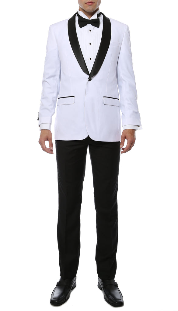 The Reno Mens White Shawl Collar 2pc Tuxedo - FHYINC best men