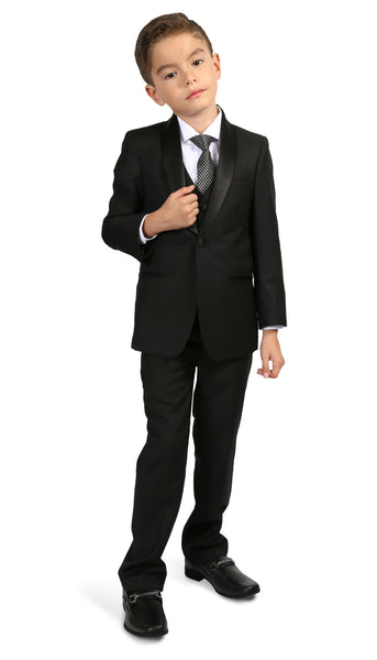 Boys Reno JR 5pc Black Shawl Tuxedo Set - FHYINC best men's suits, tuxedos, formal men's wear wholesale