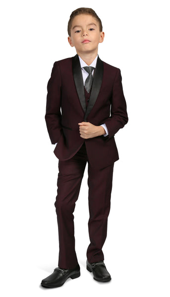 Boys Reno JR 5pc Burgundy Shawl Tuxedo Set - FHYINC best men's suits, tuxedos, formal men's wear wholesale