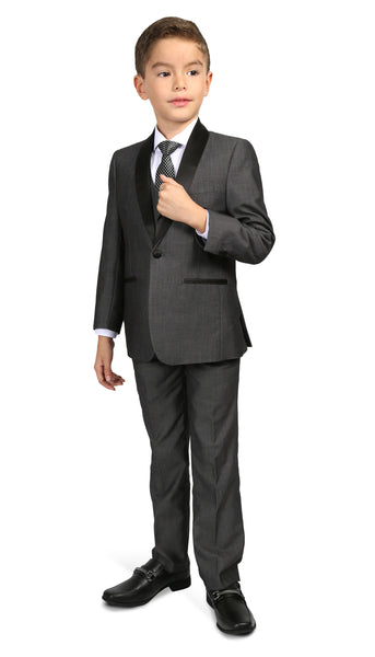 Boys Reno JR 5pc Grey Shawl Tuxedo Set - FHYINC best men's suits, tuxedos, formal men's wear wholesale