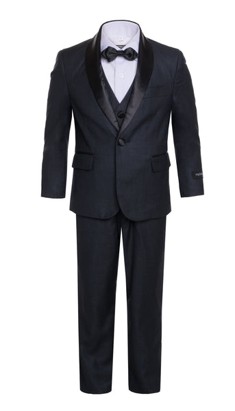 Boys Reno JR 5pc Navy Shawl Tuxedo Set - FHYINC best men's suits, tuxedos, formal men's wear wholesale