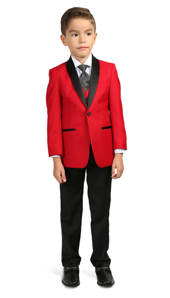 Boys Reno JR 5pc Red/Black Shawl Tuxedo Set - FHYINC best men's suits, tuxedos, formal men's wear wholesale