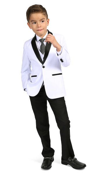 Boys Reno JR 5pc White/Black Shawl Tuxedo Set - FHYINC best men's suits, tuxedos, formal men's wear wholesale