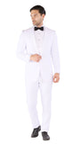 Reno Mens All White 2pc Slim Fit Shawl Collar Tuxedo - FHYINC best men's suits, tuxedos, formal men's wear wholesale