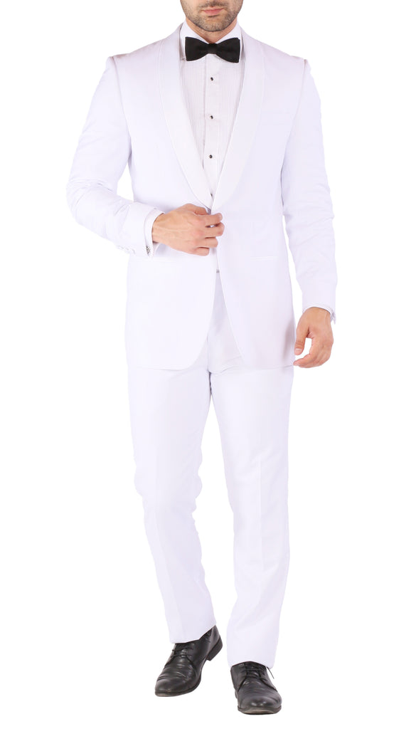 Reno Mens All White 2pc Slim Fit Shawl Collar Tuxedo - FHYINC best men