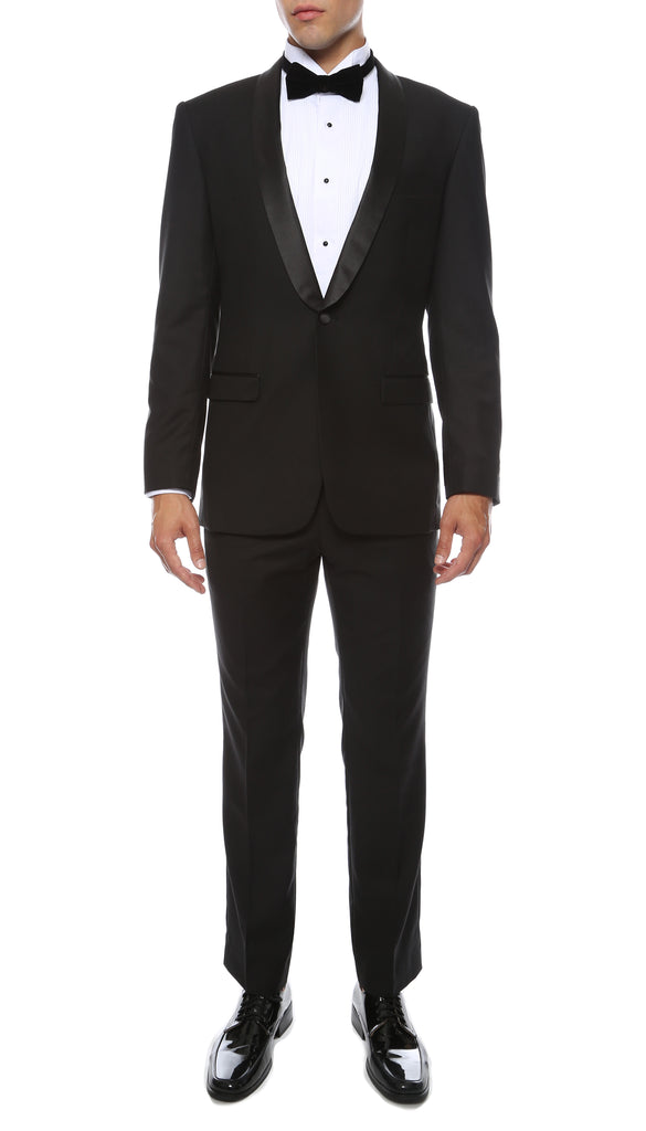 The Reno Mens Black Shawl Collar 2pc Tuxedo - FHYINC best men