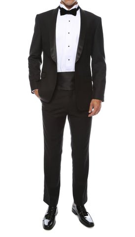 The Reno Mens Black Shawl Collar 2pc Tuxedo