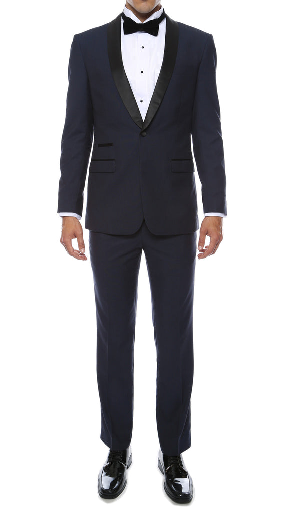 The Reno Mens Navy Shawl Collar 2pc Tuxedo - FHYINC best men