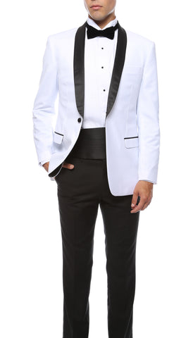 The Reno Mens White Shawl Collar 2pc Tuxedo