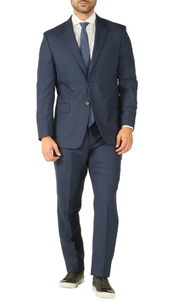 Premium Blue Wool 2pc Stain Resistant Traveler Suit - w 2 Pairs of Pants - FHYINC best men