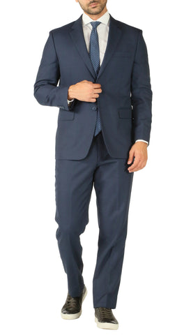Premium Blue Wool 2pc Stain Resistant Traveler Suit - w 2 Pairs of Pants