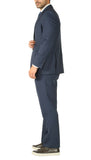 Premium Blue Wool 2pc Stain Resistant Traveler Suit - w 2 Pairs of Pants - FHYINC best men's suits, tuxedos, formal men's wear wholesale