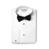 Ferrecci Men's Rome White Slim Fit Pique Wing Tip Collar Tuxedo Shirt with Bib - FHYINC best men's suits, tuxedos, formal men's wear wholesale