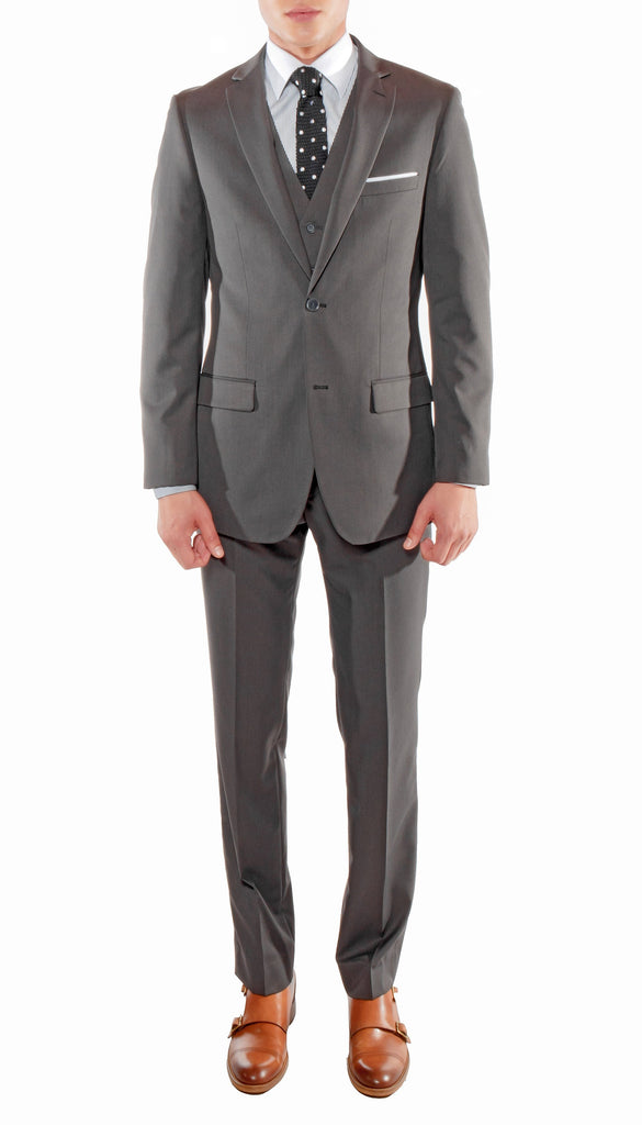 Ferrecci Mens Savannah Charcoal Slim Fit 3pc Suit - FHYINC best men