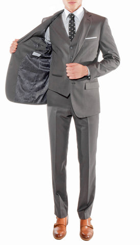 Ferrecci Mens Savannah Charcoal Slim Fit Three Piece Suit