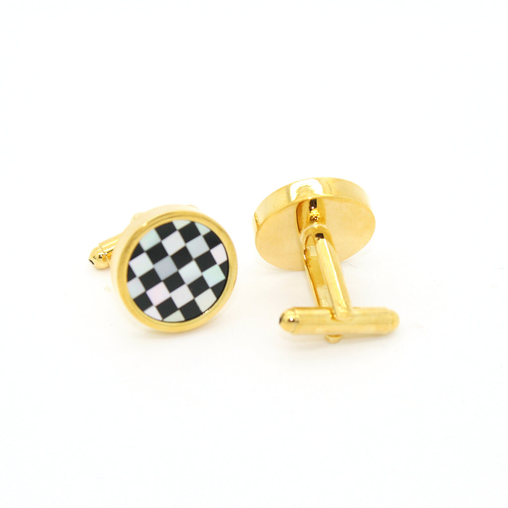 Goldtone Checker Shell Cuff Links With Jewelry Box - FHYINC