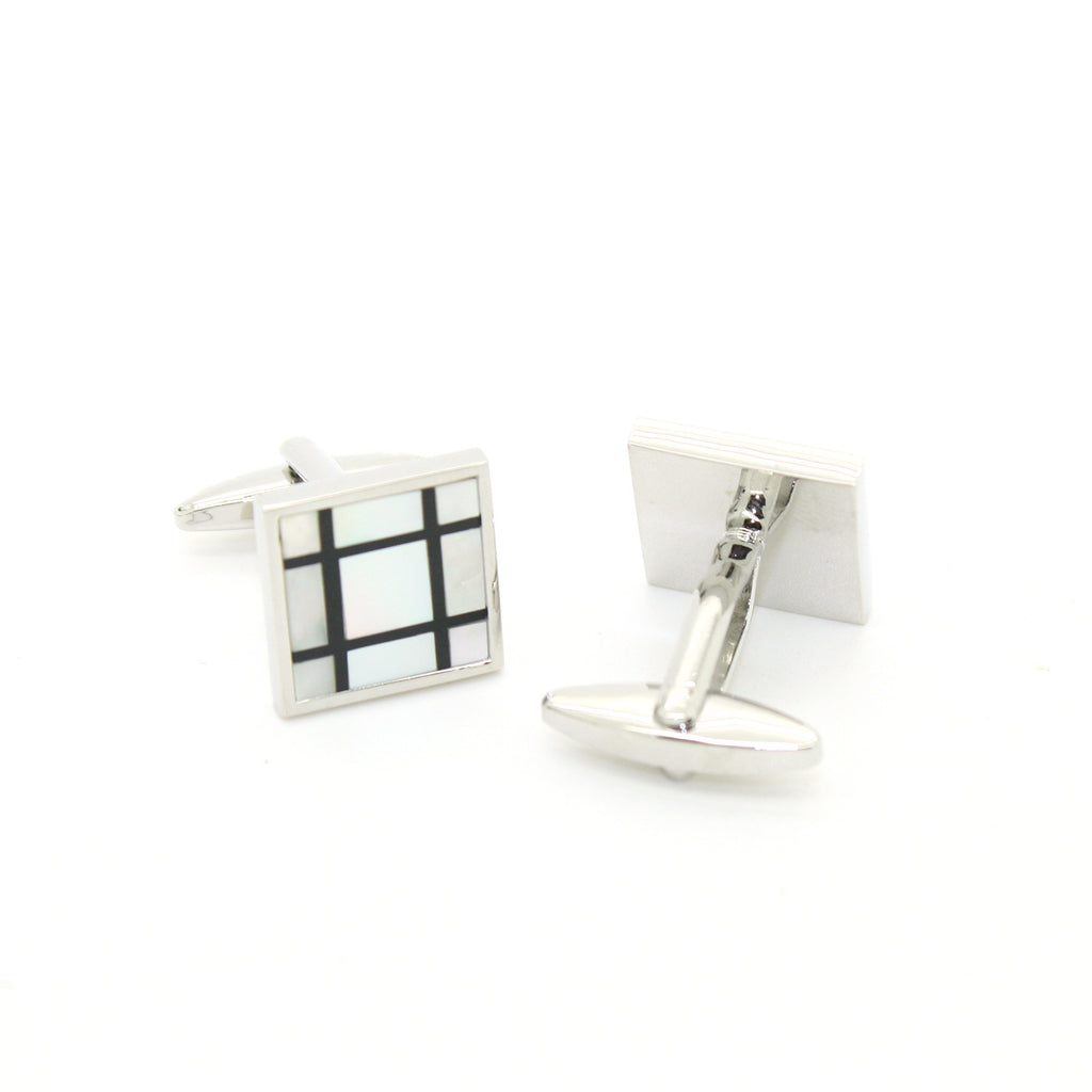 Silvertone White Shell Cuff Links With Jewelry Box - FHYINC best men