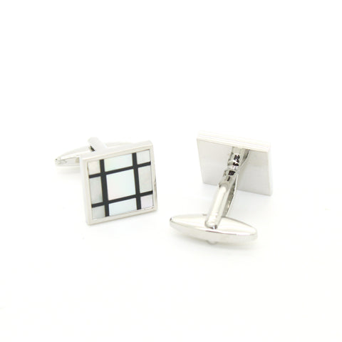 Silvertone Blue Circle Geometric Pattern Cufflinks with Jewelry Box