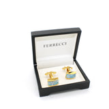 Goldtone Blue Shell Cuff Links With Jewelry Box - FHYINC best men's suits, tuxedos, formal men's wear wholesale