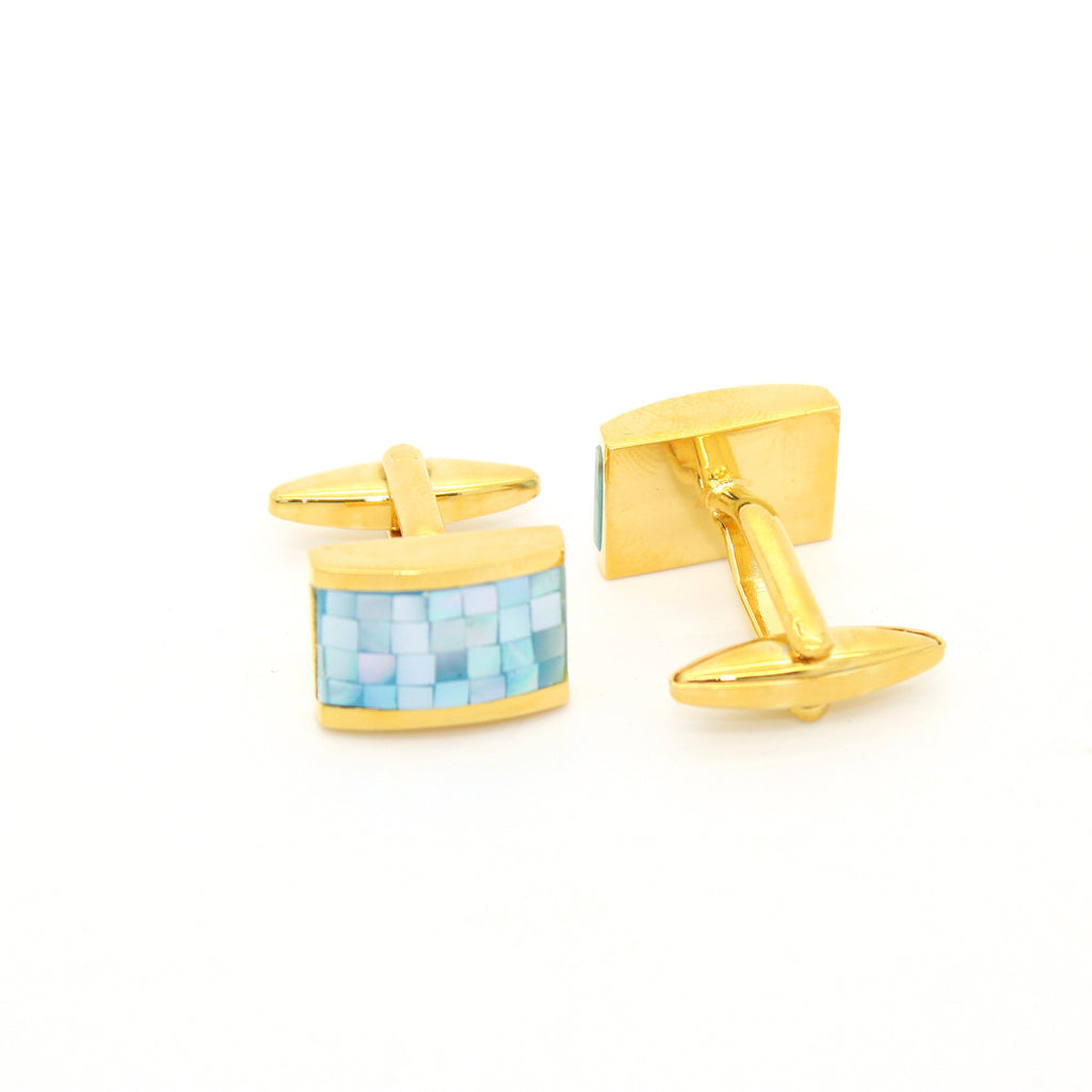 Goldtone Blue Shell Cuff Links With Jewelry Box - FHYINC