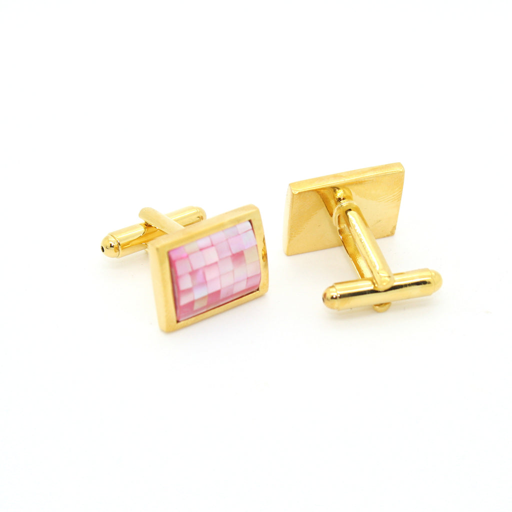 Goldtone Pink Shell Cuff Links With Jewelry Box - FHYINC