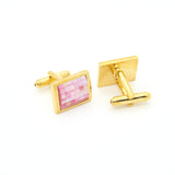 Goldtone Pink Shell Cuff Links With Jewelry Box - FHYINC best men's suits, tuxedos, formal men's wear wholesale