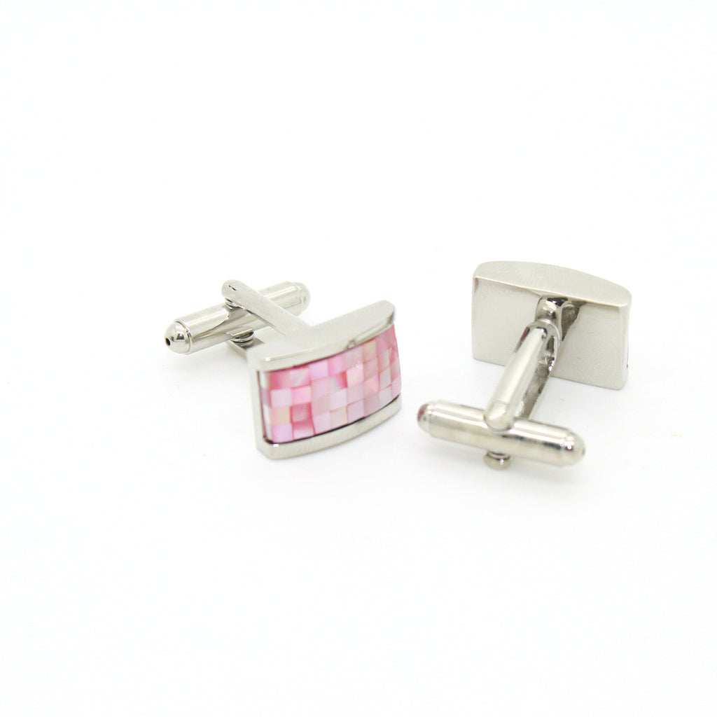 Silvertone Pink Rectangle Shell Cuff Links With Jewelry Box - FHYINC best men