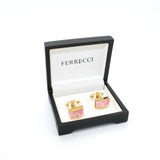 Goldtone Pink Rectangle Shell Cuff Links With Jewelry Box - FHYINC best men's suits, tuxedos, formal men's wear wholesale