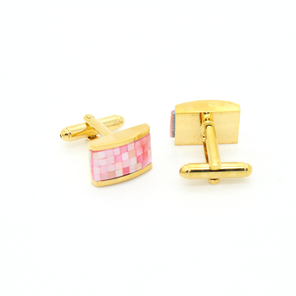 Goldtone Pink Rectangle Shell Cuff Links With Jewelry Box - FHYINC