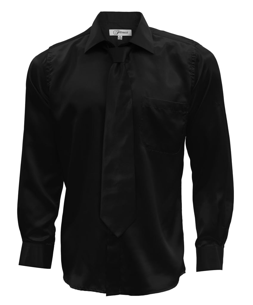 Black Satin Regular Fit French Cuff Dress Shirt, Tie & Hanky Set - FHYINC best men
