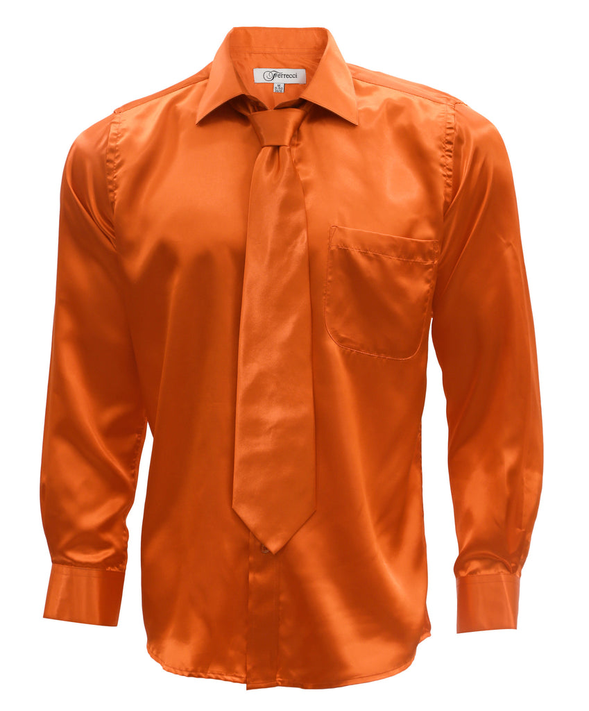 Burnt Orange Satin Regular Fit Dress Shirt, Tie & Hanky Set - FHYINC best men
