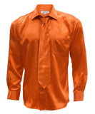 Burnt Orange Satin Regular Fit Dress Shirt, Tie & Hanky Set - FHYINC best men's suits, tuxedos, formal men's wear wholesale
