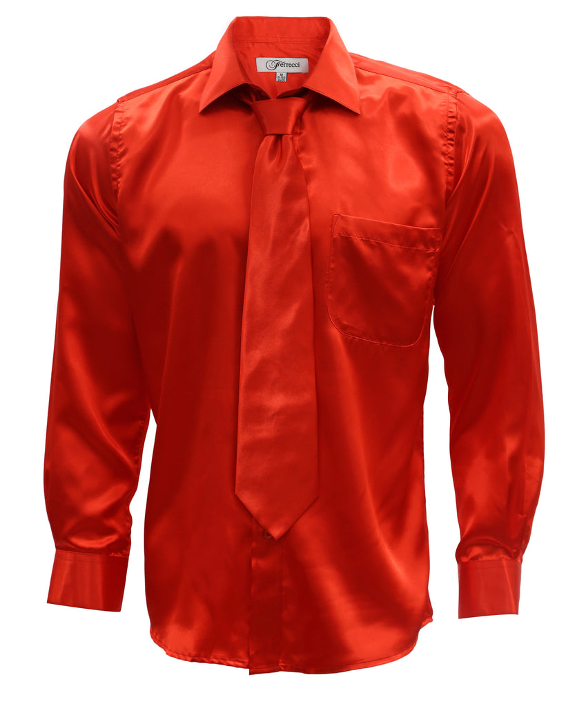 Burnt Red Satin Regular Fit French Cuff Dress Shirt, Tie & Hanky Set - FHYINC best men