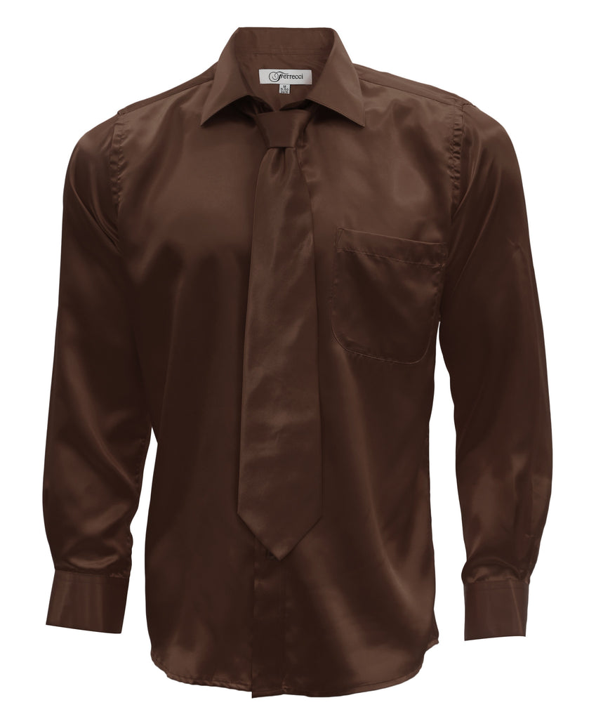 Brown Satin Regular Fit Dress Shirt, Tie & Hanky Set - FHYINC best men