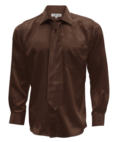 Brown Satin Regular Fit Dress Shirt, Tie & Hanky Set