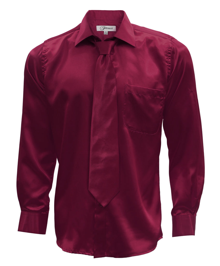 Burgundy Satin Regular Fit French Cuff Dress Shirt, Tie & Hanky Set - FHYINC best men