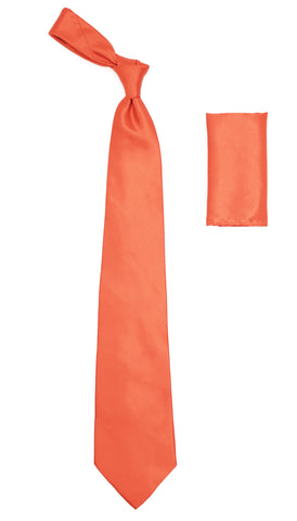 Coral Satin Regular Fit Dress Shirt, Tie & Hanky Set