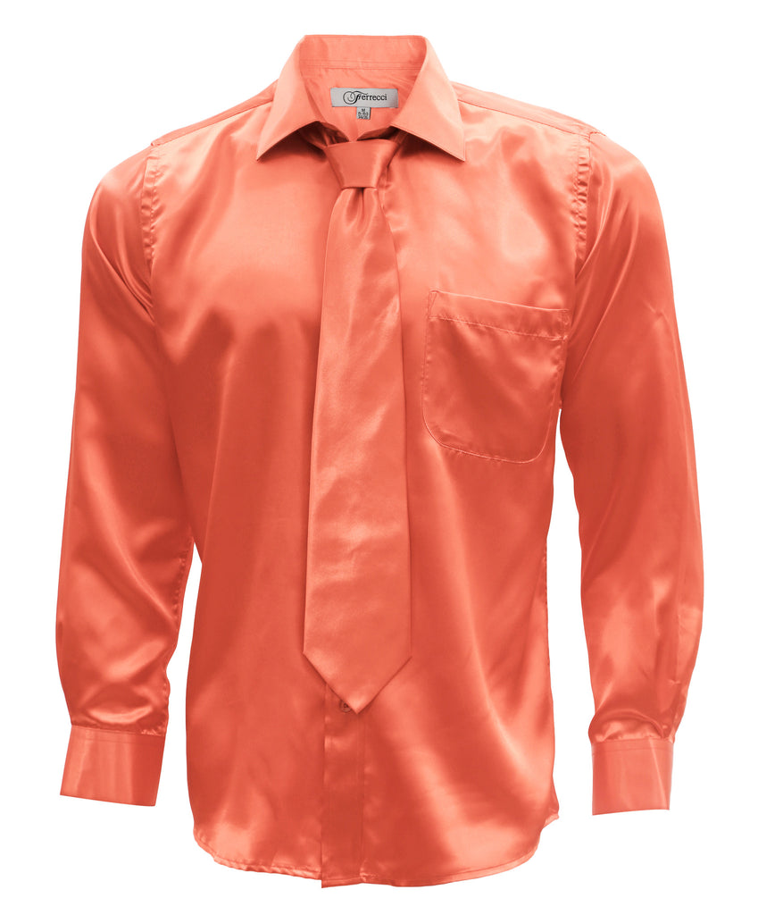 Coral Satin Regular Fit Dress Shirt, Tie & Hanky Set - FHYINC best men