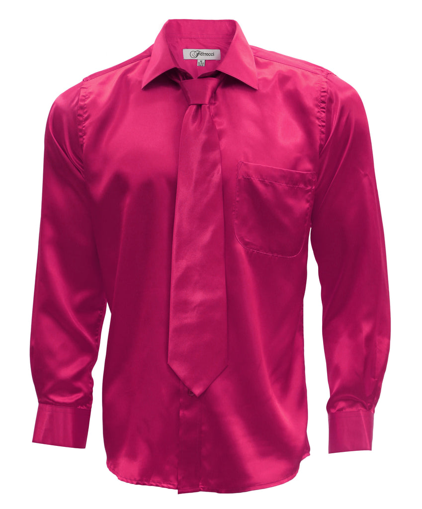 Fuchsia Satin Regular Fit French Cuff Dress Shirt, Tie & Hanky Set - FHYINC best men