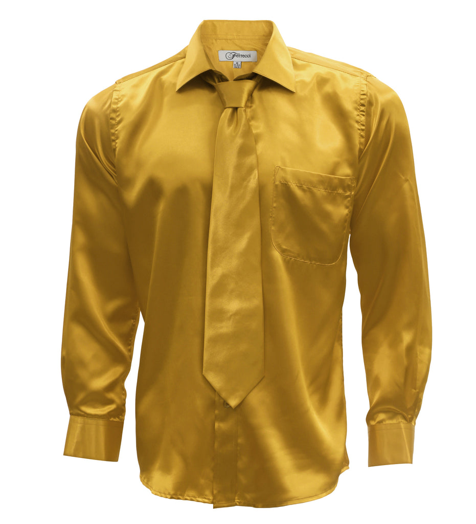 Gold Satin Regular Fit French Cuff Dress Shirt, Tie & Hanky Set - FHYINC best men