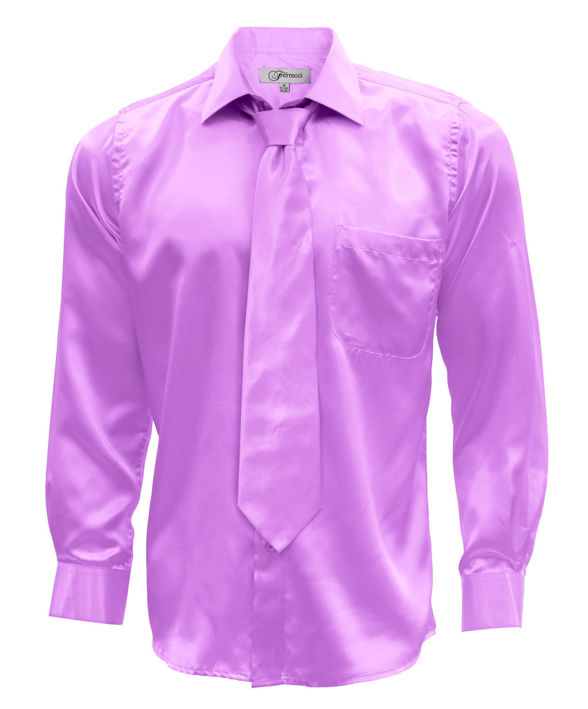Ferrecci Mens Lavender Satin French Cuff Dress Shirt Necktie and Hanky Set