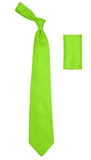 Ferrecci Mens Lime Satin French Cuff Dress Shirt Necktie and Hanky Set