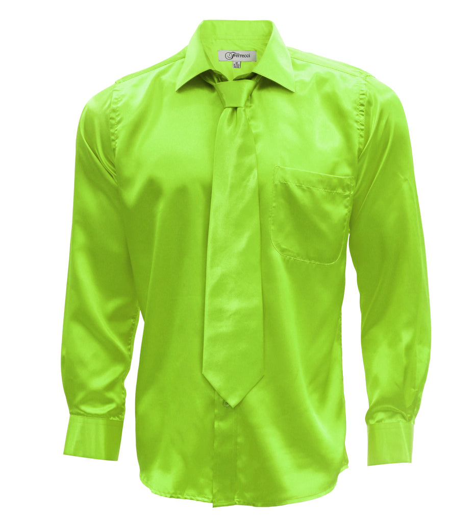 Fhy inc ferrecci satin lime green mens dress shirt necktie for Neon green shirts for men