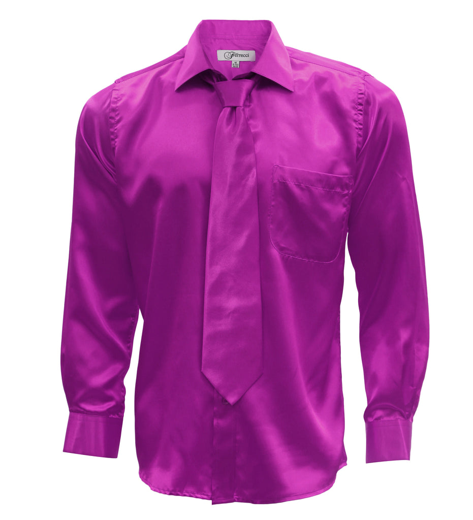 Ferrecci Mens Magenta Satin Dress Shirt Necktie and Hanky Set