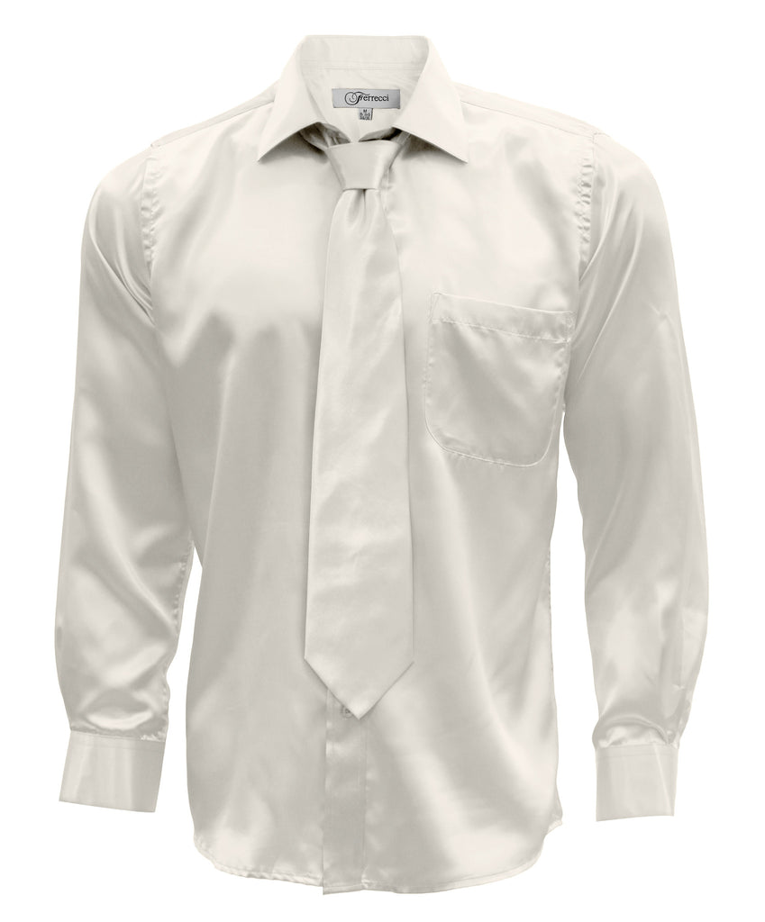 Off White Satin Regular Fit Dress Shirt, Tie & Hanky Set - FHYINC best men