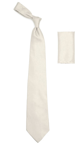 Off White Satin Regular Fit Dress Shirt, Tie & Hanky Set