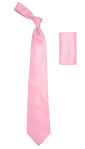 Pink Satin Regular Fit Dress Shirt, Tie & Hanky Set